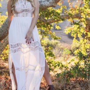 ASTR blush sleeve lace maxi dress